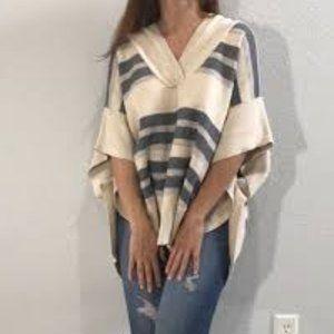 Striped poncho cape